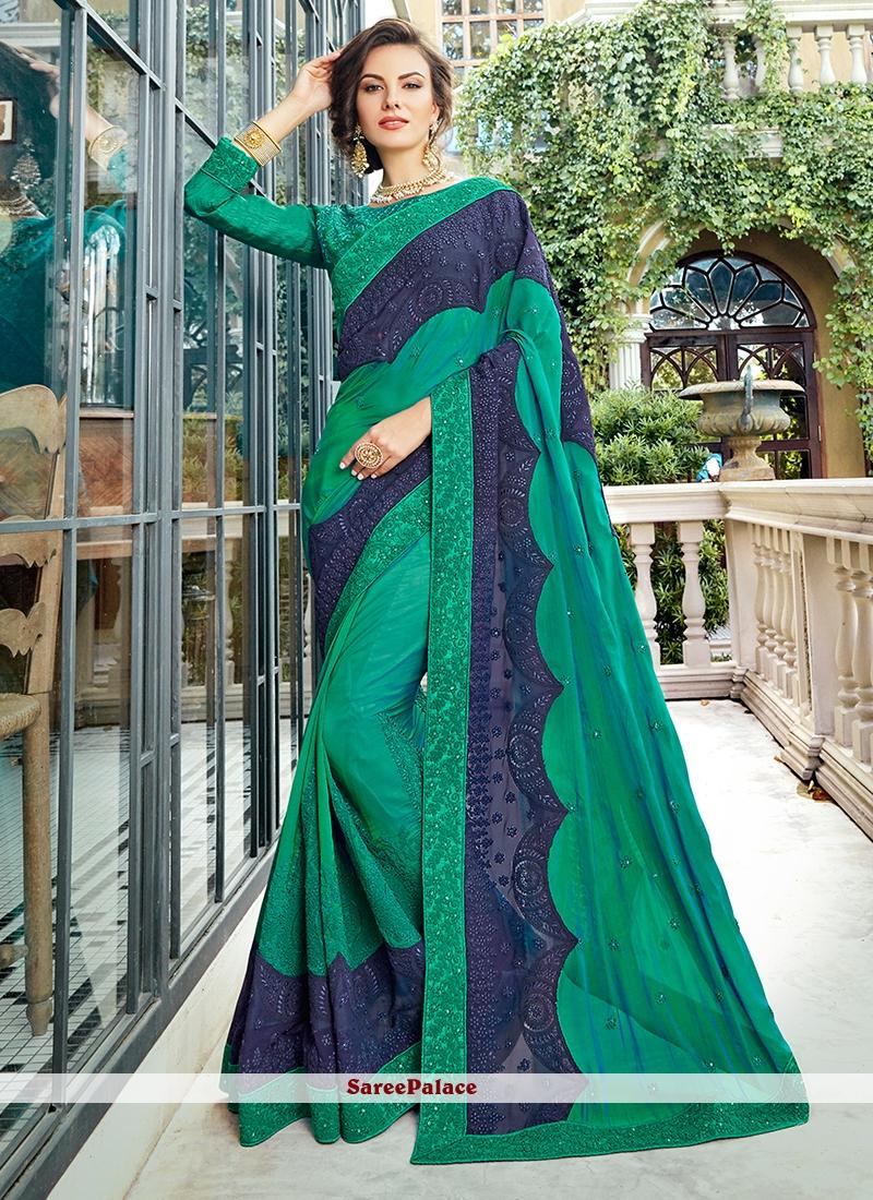Sea Green Art Silk Resham Designer Traditional Saree