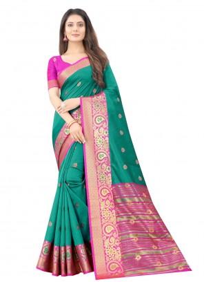 Sea Green Art Silk Weaving Traditional Saree