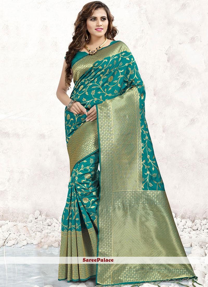 Sea Green Banarasi Silk Abstract Print Classic Saree