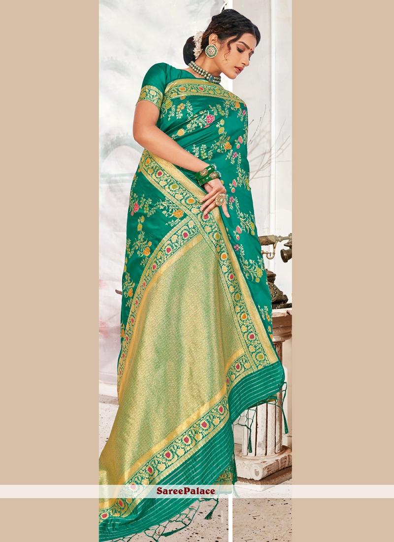 Sea Green Banarasi Silk Designer Traditional Saree
