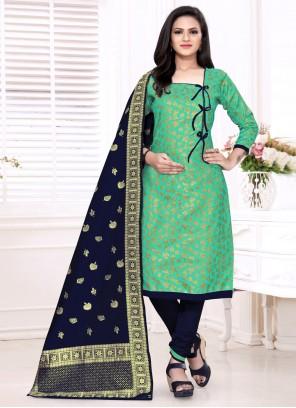 Sea Green Banarasi Silk Festival Churidar Suit