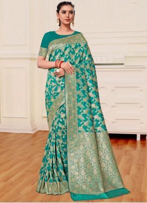 Sea Green Banarasi Silk Festival Classic Saree