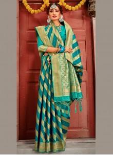 Sea Green Banarasi Silk Weaving Designer Traditional Saree