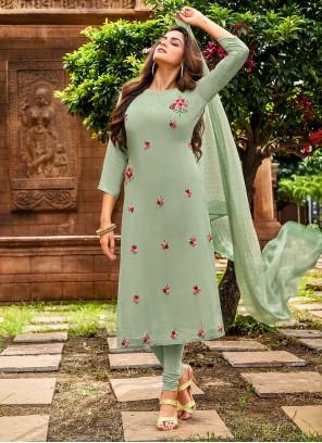 Sea Green Casual Chanderi Cotton Churidar Salwar Suit