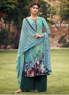 Sea Green Casual Palazzo Suit