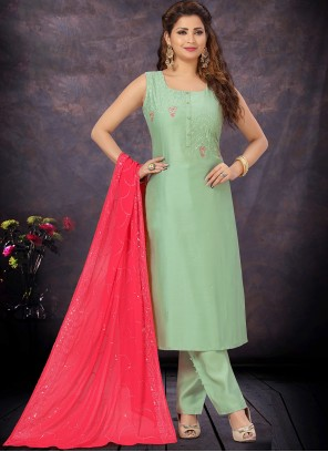 Sea Green Chanderi Embroidered Designer Suit