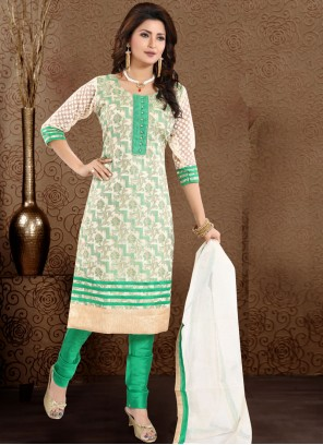 Sea Green Color Churidar Designer Suit