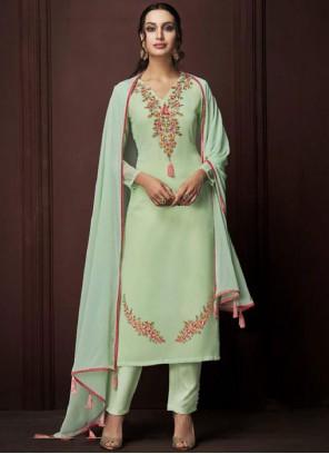 Sea Green Color Designer Pakistani Suit