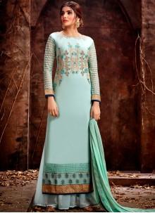 Sea Green Color Designer Straight Salwar Kameez