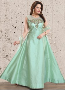 Sea Green Color Readymade Gown