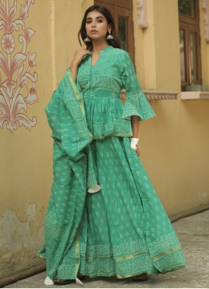 Sea Green Cotton Lehenga Choli