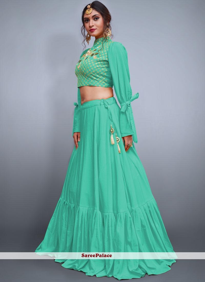 Sea Green Crepe Silk Mehndi Readymade Lehenga Choli
