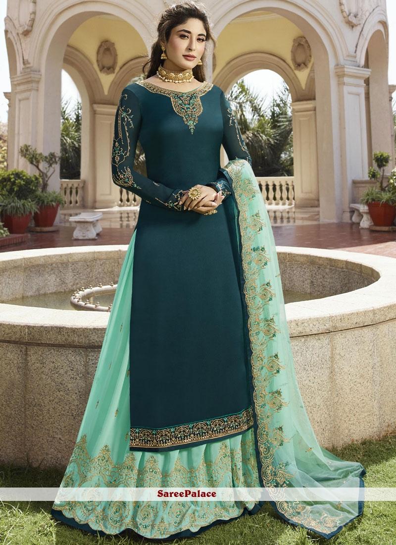 447e5dffc2 Buy Sea Green Diamond Georgette Satin Designer Lehenga Choli Online