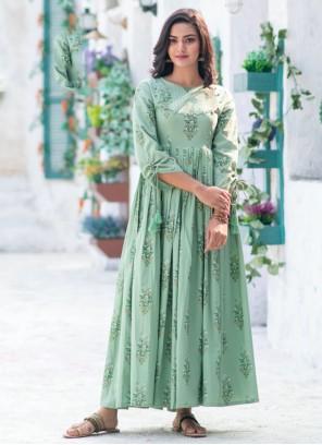 Sea Green Digital Print Gown