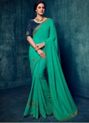 Sea Green Embroidered Art Silk Classic Designer Saree