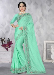 Sea Green Embroidered Ceremonial Designer Saree
