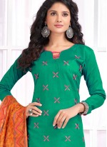 Sea Green Embroidered Churidar Designer Suit
