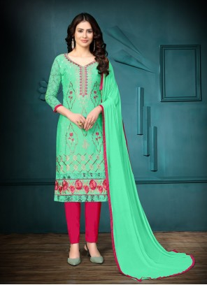 Sea Green Embroidered Churidar Suit