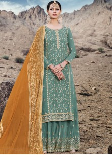 Sea Green Embroidered Designer Palazzo Suit