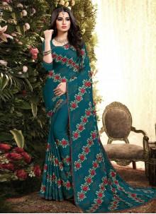 Sea Green Embroidered Designer Saree
