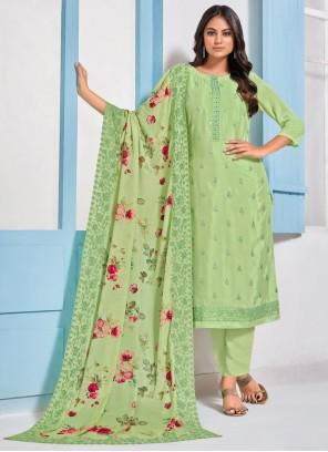 Sea Green Embroidered Designer Straight Salwar Kameez