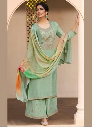 Sea Green Embroidered Festival Designer Pakistani Salwar Suit
