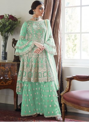 Sea Green Embroidered Festival Designer Palazzo Salwar Suit