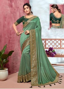 Sea Green Embroidered Mehndi Classic Designer Saree
