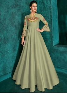 Sea Green Embroidered Party Trendy Gown