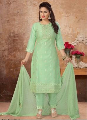 Sea Green Embroidered Readymade Suit
