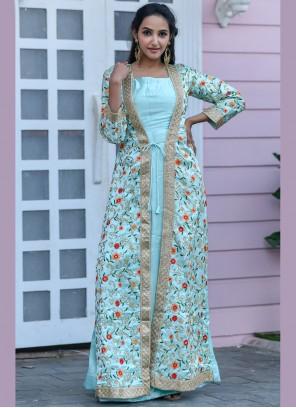 Sea Green Embroidered Satin Floor Length Anarkali Suit
