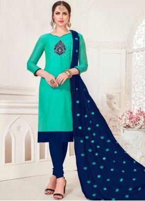Sea Green Embroidered Silk Churidar Salwar Suit