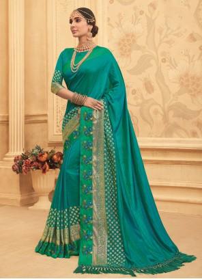 Sea Green Embroidered Traditional Designer Saree