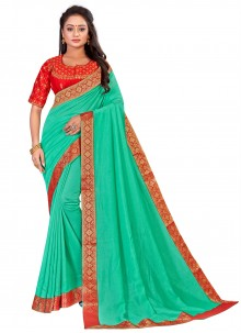 Sea Green Embroidered Traditional Saree