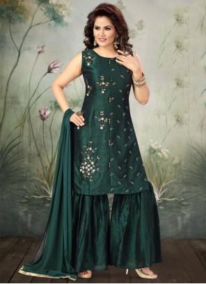 Sea Green Embroidered Trendy Salwar Kameez
