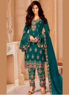 Sea Green Embroidered Trendy Salwar Suit