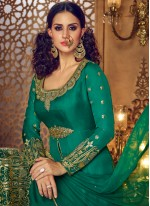 Sea Green Embroidered Work Pant Style Suit