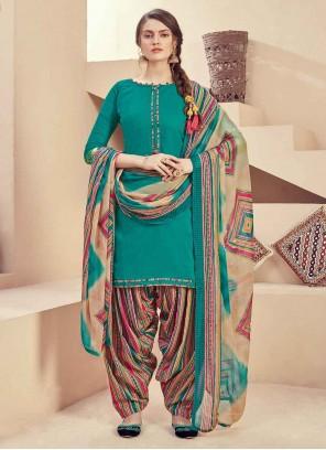 Sea Green Fancy Festival Designer Patiala Suit