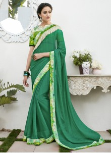 Sea Green Faux Chiffon Classic Designer Saree