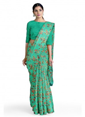 Sea Green Faux Georgette Abstract Printed Saree