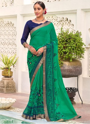 Sea Green Faux Georgette Abstract Print Saree