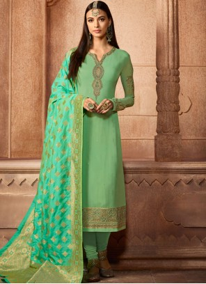 Sea Green Faux Georgette Churidar Designer Suit