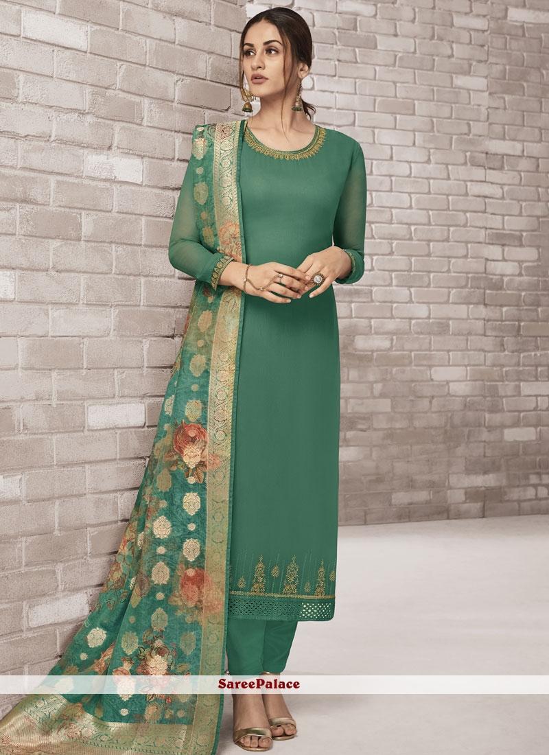 Sea Green Faux Georgette Churidar Designer Suit