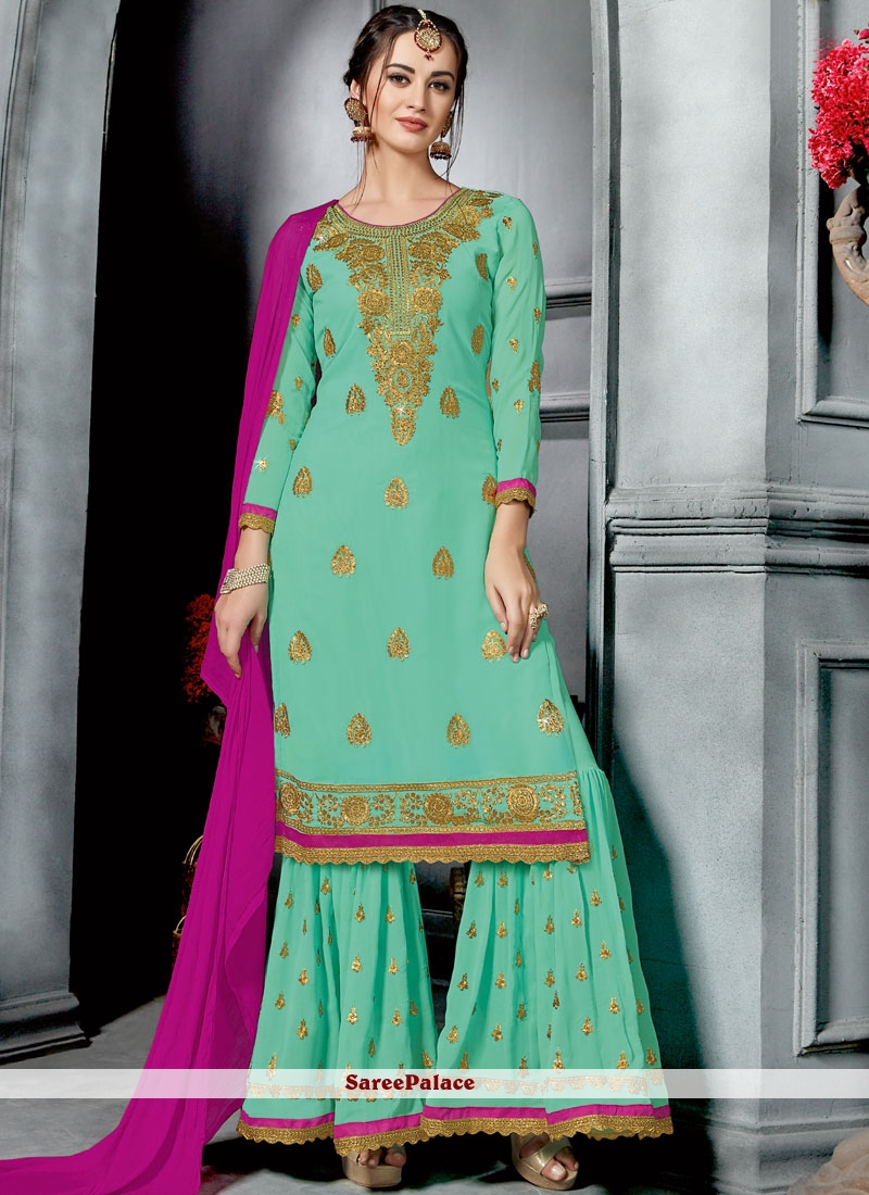Sea Green Faux Georgette Embroidered Designer Palazzo Suit