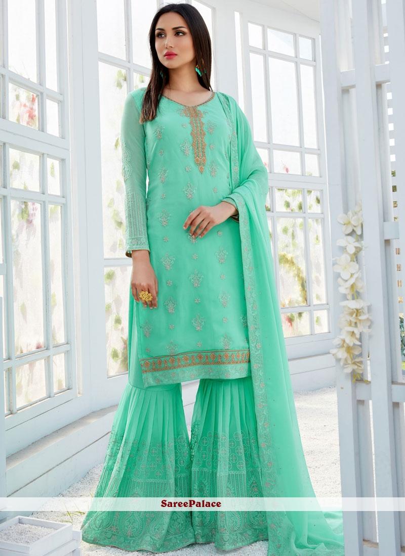 Sea Green Festival Designer Palazzo Salwar Suit