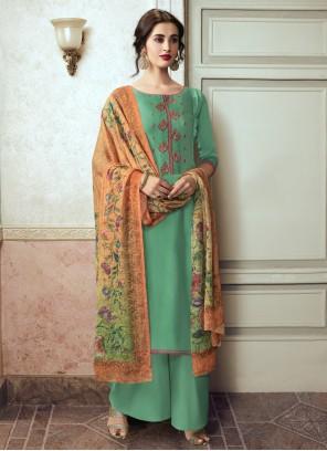 Sea Green Festival Georgette Satin Designer Pakistani Suit