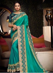 Sea Green Festival Satin Silk Traditional Saree
