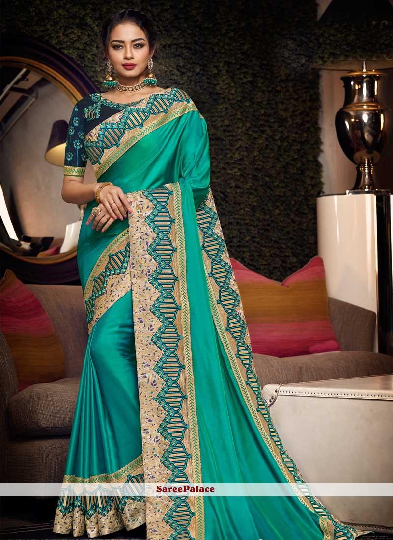Sea Green Festival Satin Silk Traditional Saree