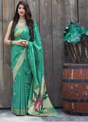 Sea Green Festival Silk Traditional Saree