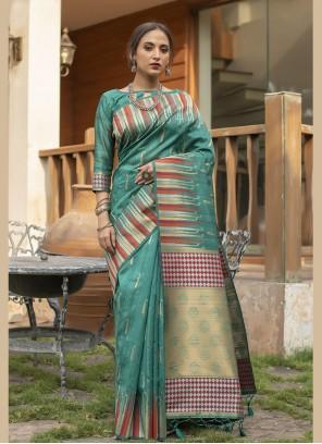 Sea Green Festival Tussar Silk Designer Traditional Saree